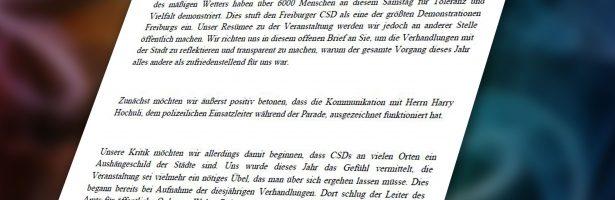 Offener Brief an die Stadt Freiburg